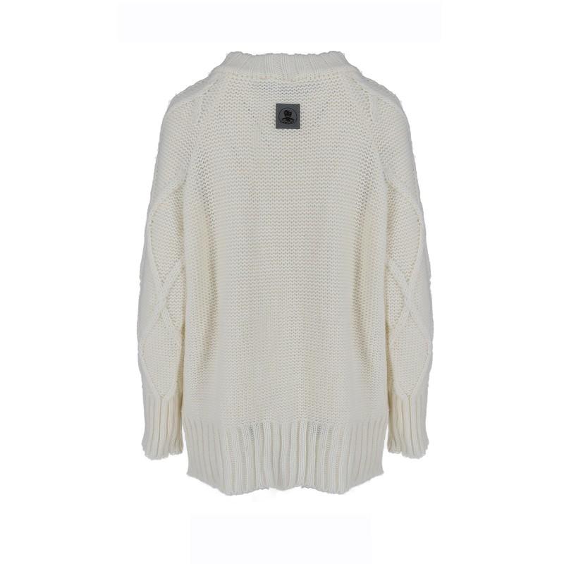 Długi Sweter zimowy biały