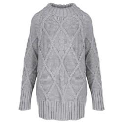 Długi Sweter zimowy szary