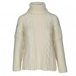 Sweter zimowy warkocz z golfem krem