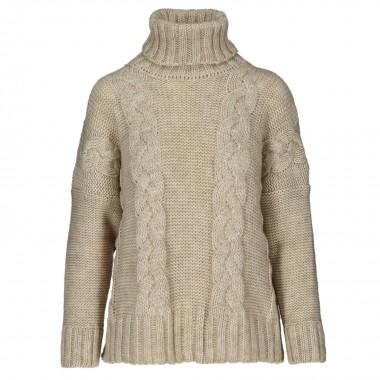 Sweter zimowy warkocz beż