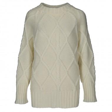 Długi Sweter zimowy krem